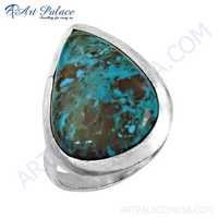 Traditional Pear Shape Turquoise Gemstone Silver Ring