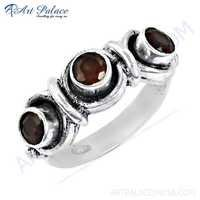 Hand Created Garnet Gemstone Silver Ring, 925 Sterling Silver Jewelry