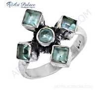 Most Fashionable Blue Topaz Glass Gemstone Silver Ring