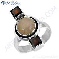 Excellent New Style Garnet & Rose Quartz Gemstone Silver Ring