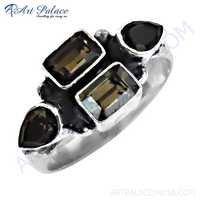 Best Selling Smokey Quartz Gemstone Silver Ring