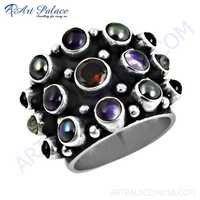 Premier Passion Affrican Amethyst & Black Pearl & Garnet & Rainbow Moonstone Gemstone Silver Ring