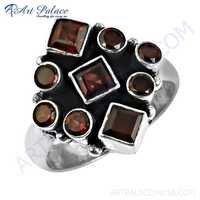 New Fashionable Garnet Artisan Gemstone Silver Ring
