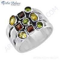 Wholesale Handmade Citrine & Garnet & Peridot Gemstone Silver Ring