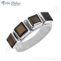 Fashionable Women's Deep Dark Red Garnet Gemstone Silver Ring