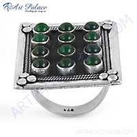 HOT Luxury Green Onyx Gemstone Big Silver Ring