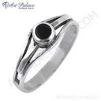 New Fashionable Nightlife Black Onyx Gemstone Silver Ring