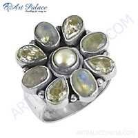 Unique Flower Style Cubic Zirconia & Pearl & Rainbow Moonstone Silver Ring