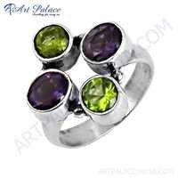Gracious Fashion Amethyst & Peridot Gemstone Silver Ring