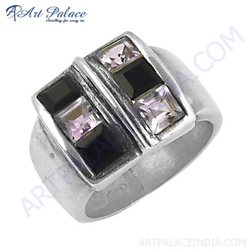 Fantastic Fashionable Amethyst & Black Onyx Gemstone Silver Ring