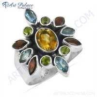 Charming Blue Topaz & Citrine & Garnet & Peridot Gemstone Silver Ring