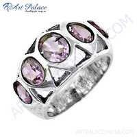 Rocking Style Amethyst Gemstone Silver Ring