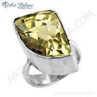 Elegant Fancy Lemon Quartz Gemstone Silver Ring