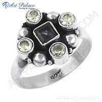 Popular Design Cubic Zirconia & Iolite Gemstone Silver Ring