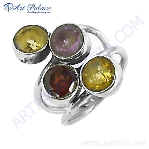 Wholesale Various styles Amethyst & Citrine & Garnet Gemstone Silver Ring