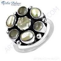 Ingenious Pearl & Rose Quartz Gemstone Silver Ring
