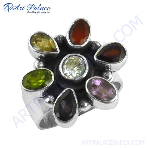 Exclusive Multi Gemstone Silver Ring In Flower Style