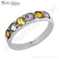 Fabulous Amethyst & Citrine Gemstone Silver Eternity Ring