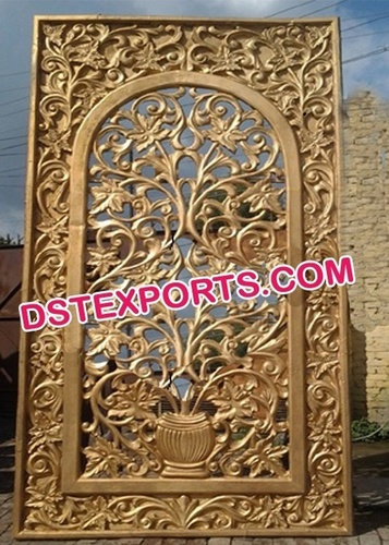 Indian Wedding Golden Flower Carved Panels