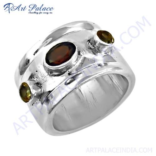 Indian Touch Citrine & Garnet Gemstone Silver Ring