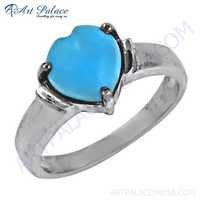 Latest Eternal Heart Synthetic Turquoise Gemstone Silver Ring