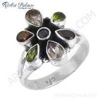 Trendy Charm Flower Style Amethyst & Garnet & Iolite & Peridot Gemstone Silver Ring