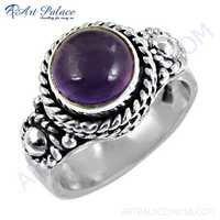 Indian Ethnic Designer Amethyst Gemstone Silver Ring