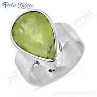 Top Quality Pear Shape Prenite Gemstone Silver Ring