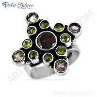 Dazzling Amethyst & Garnet & Peridot Gemstone Silver Ring
