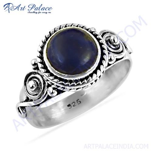 Feminine Unique Ethnic Design Lapis Lazuli Gemstone Silver Ring