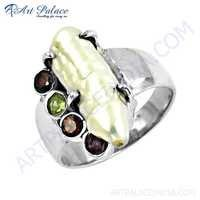 Beautiful Amethyst & Garnet & Pearl & Peridot Gemstone Silver Ring