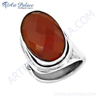 New Fashionable Red Onyx Gemstone Adjustable Silver Ring