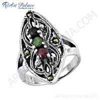 Traditional Black Onyx & Died Ruby & Green Aventurine & Gun Metal Gemstone Silver Marcasite Ring