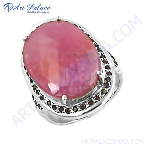 Vintage Inspired Ruby Gemstone Silver Ring