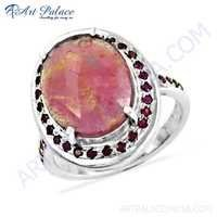 Delicate Antique Ruby Gemstone Silver Engagement Ring