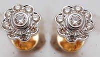 bezel setting genuine diamond earrings, diamond jewelry earrings