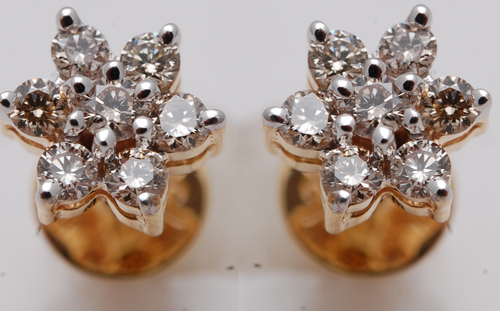 small cluster earring design, real diamond daily wearl jewelry for girls