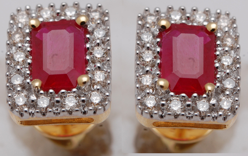 natural ruby and diamond jewelry earring, stylish earrings tops and studs in colorstones