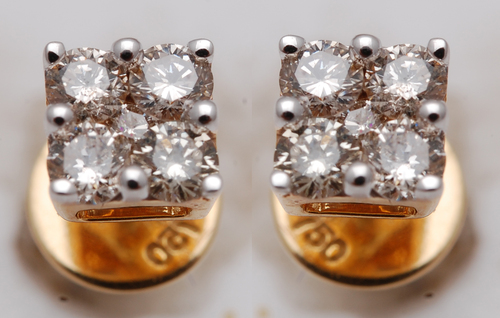 small diamond gold earring, diamond jewelry supplier from india