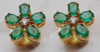 color gemstone genuine emerald earring supplier, oval shaped emerald jewelry for women