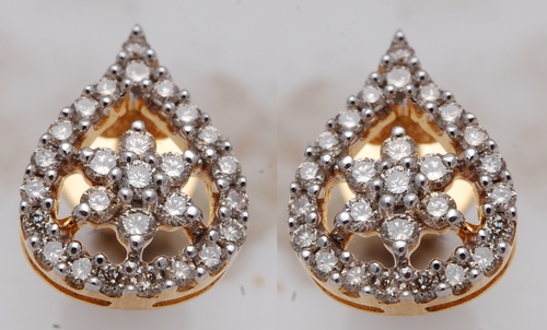 diamond cluster designer earring, customisable gold jewelry manufacturer