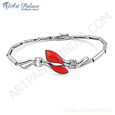Unique Cubic Zirconia & Synthetic Coral Gemstone Silver Bracelet