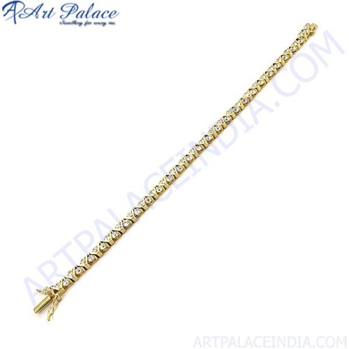 Sensational Cubic Zirconia Gold Plated Silver Bracelet