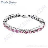 Charming Pink Cubic Zirconia Silver Bracelet