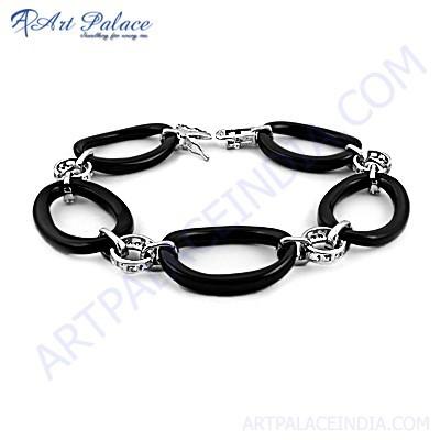 Trendy Black Onyx & Cubic Zirconia Gemstone Silver Bracelet