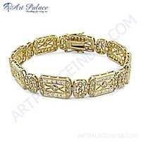 Designer Cubic Zirconia Gold Plated Silver Bracelet
