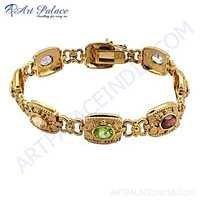 Multi Stone Gold Plated Silver Bracelet