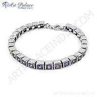 Pretty Blue Cubic Zirconia Gemstone Silver Bracelet