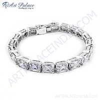 Sparkling Cubic Zirconia Gemstone Silver Bracelet