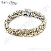 Sensational Pitch Zirconia Gemstone Silver Bracelet